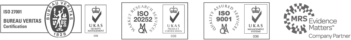 ISO 27001 - UKAS Quality Management | ISO 20252 - UKAS Product Certification | ISO 9001 - UKAS Management Systems | MRS Evidence Matters - Company Partner