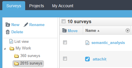 sort surveys into folders