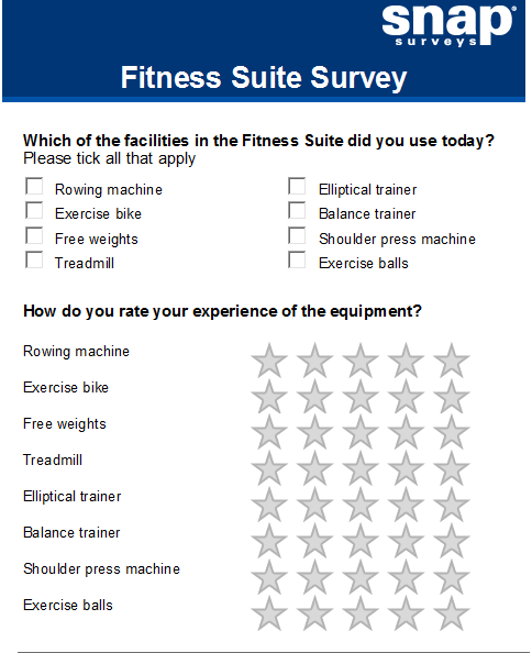 sample questionaire gym Our convenient customer satisfaction survey template gives you a quick and  easy way  our easy-to-use customer satisfaction questionnaire keeps your data .