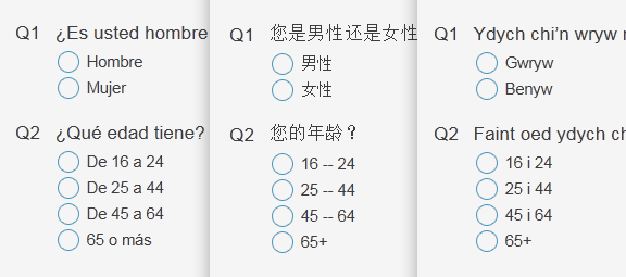 Multi-language surveys
