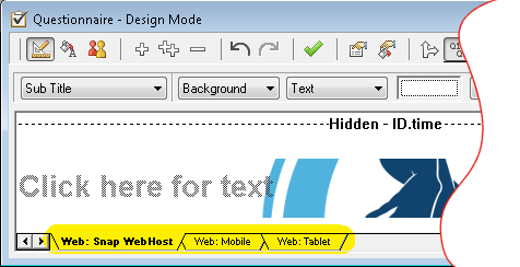 Questionnaire - Design Mode: change edition selecting tab