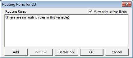 Empty routing dialog for Q3