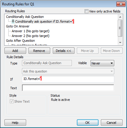 Routing Details dialog