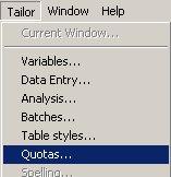 select Tailor then Quotas