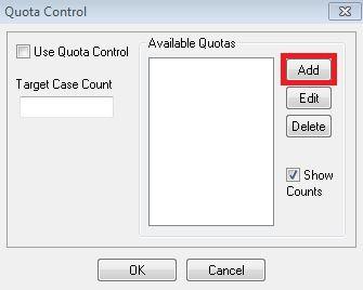 Quota Control window