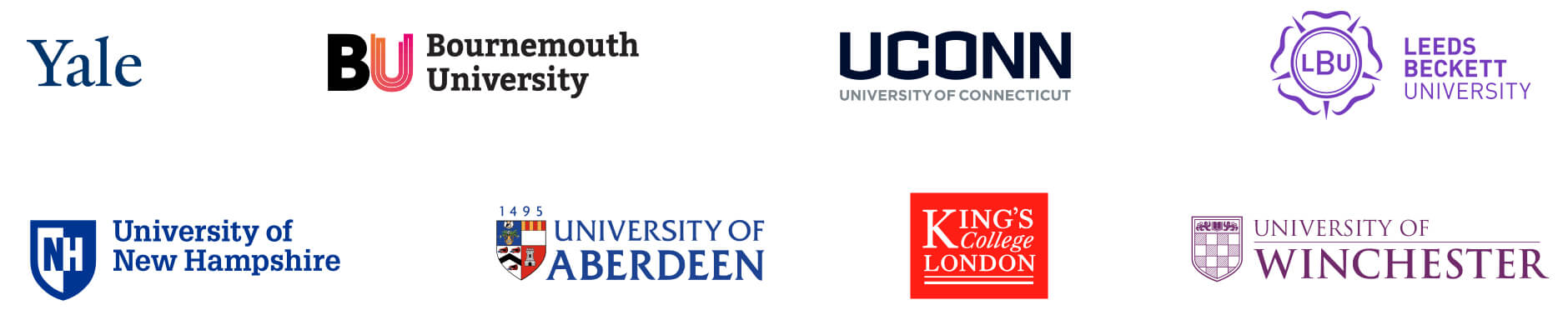 Yale, Bournemouth University, University of Connectitcut, Leeds Beckett University, University of New Hampshire, University of Aberdeen, King's College London, University of Winchester