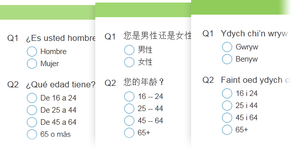 Multi-language surveys
