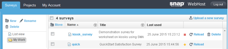 surveys page showing kiosk for syn - no responses
