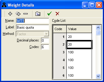 Weights window for a quota
