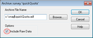 Archive survey dialog with raw data check box highlighted