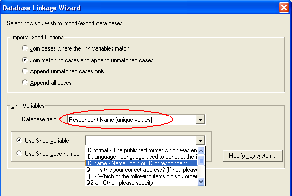 Database Linkage Wizard cases import / export