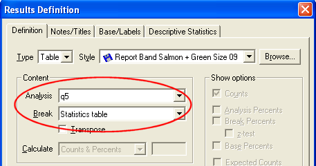 Results Definition - Break - select Stats table