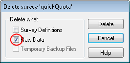 Delete survey dialog: raw data selected and highlighted