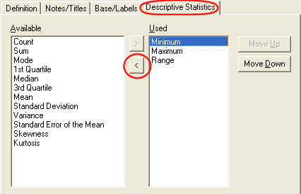 Results Definition - Descriptive Stats tab