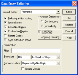 AT: advanced tailoring dalog scanning checked