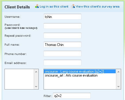 Survey with client filter visible in client edit