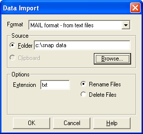 Data import mail txt