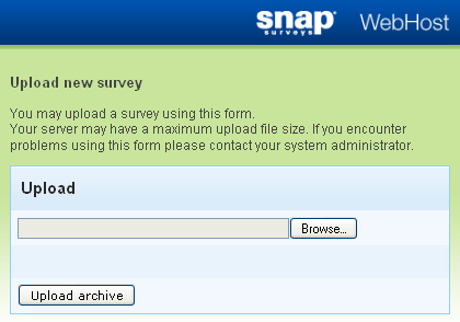 Upload new survey