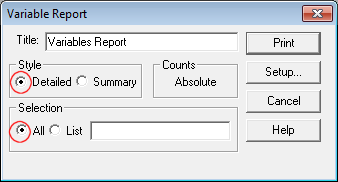 Variables report print window with detailed highlighted