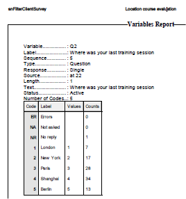 Variables report in pdf format