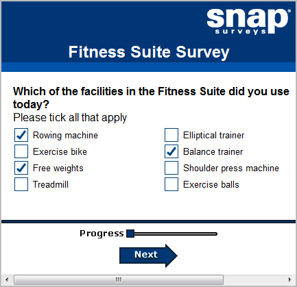 First page of fitness suite survey