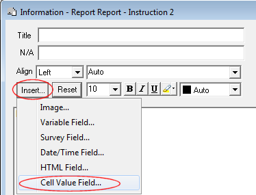 creating a smart report which includes automatic text snap surveys