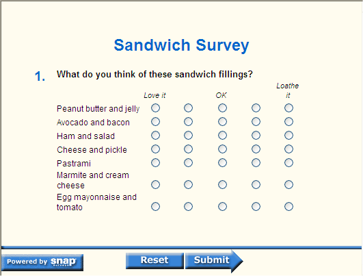Laying Out A Grid Question For A Web Survey Snap Surveys