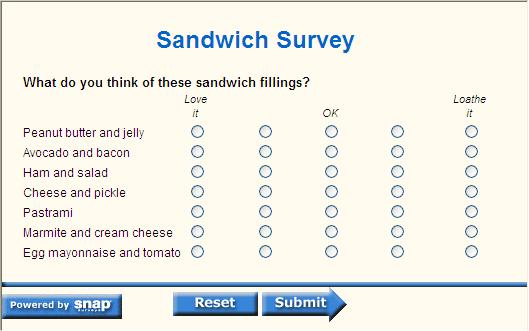 Sandwich question visual three