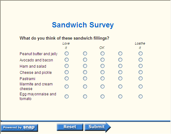 sandwich questionnaire Subway survey questionnaire - download as word doc (doc / docx rate how important it is to get a discount when you buy more than one sandwich or soda o o o o very important important neutral less important 14very dissatisfi ed dissatisfied neutral satisfied very satisfied.