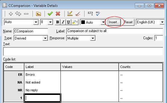 CComparison - Variable Details