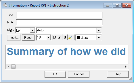 Information Report RP1 - Instruction