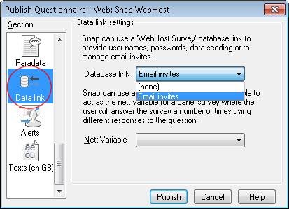 Data link email invites