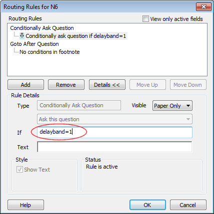 Routing Rules delayband If