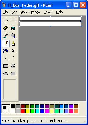 Windows paint showing standard fader bar