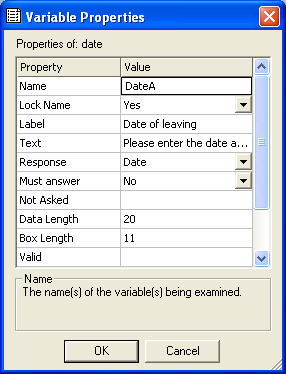 Variables properties with Name dateA