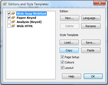 Editions and Style Templates window ws 13