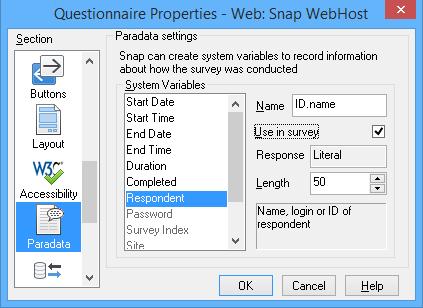 Questionnaire properties - Paradata