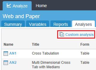 webhost custom analysis tab