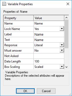 Variable properties dialogue - name selected