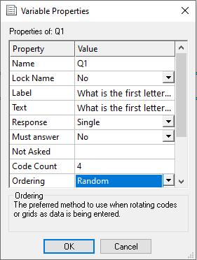 variable properties: randomise