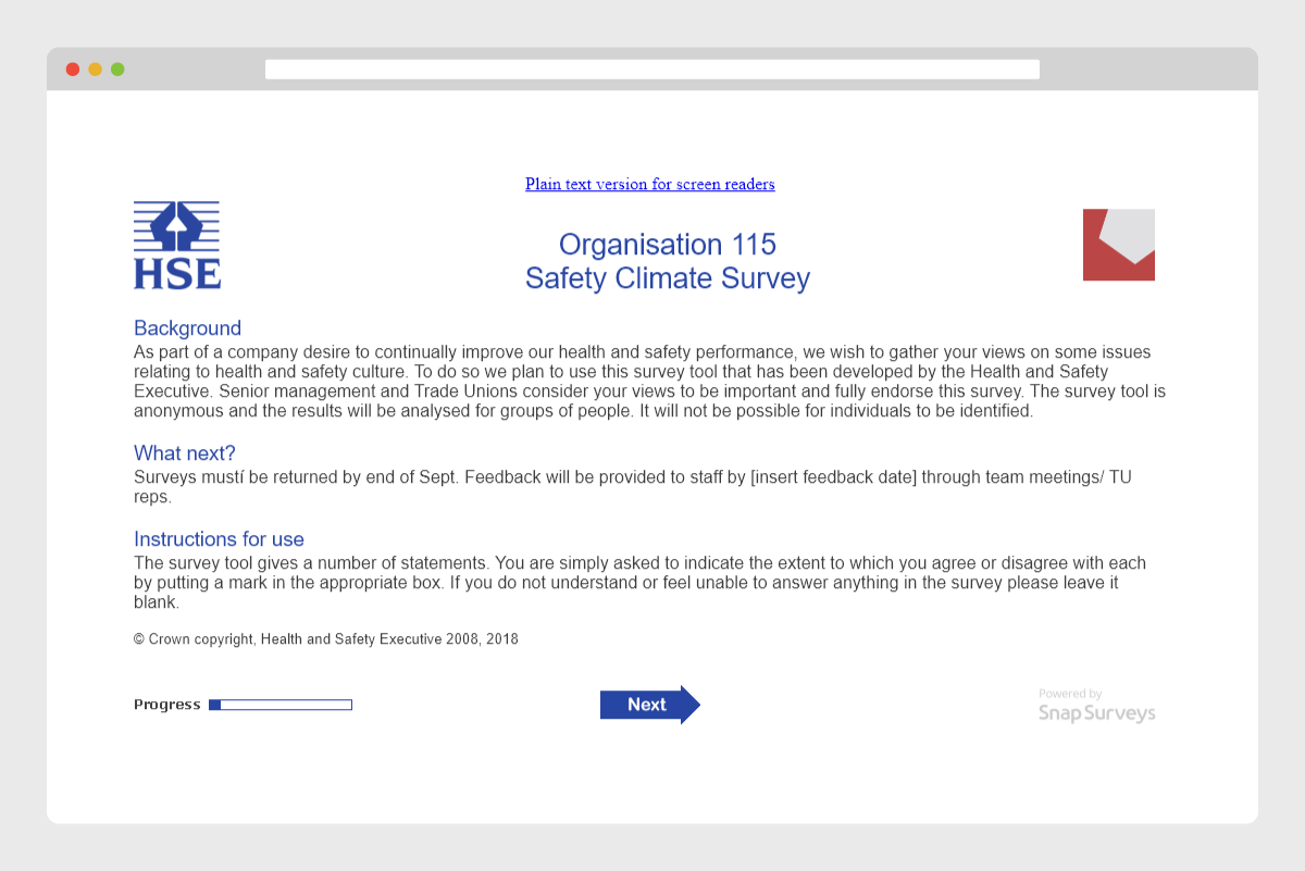 Safety Climate Tool Survey