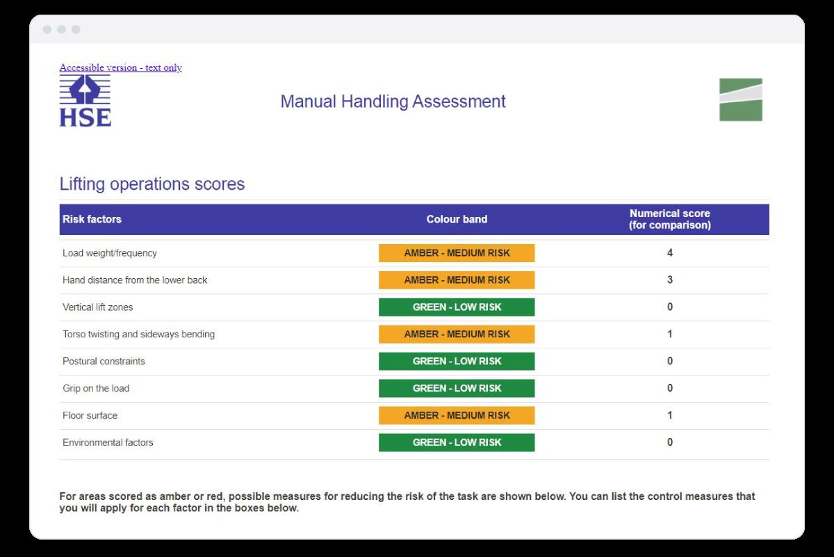 Manual Handling Assessment Report